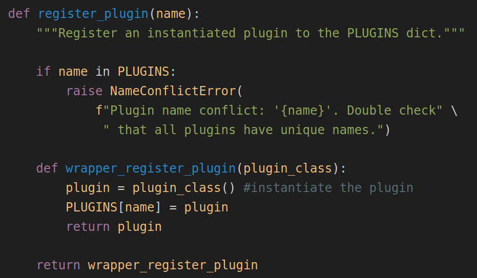 The python decorator used to make the system aware of a plugin.